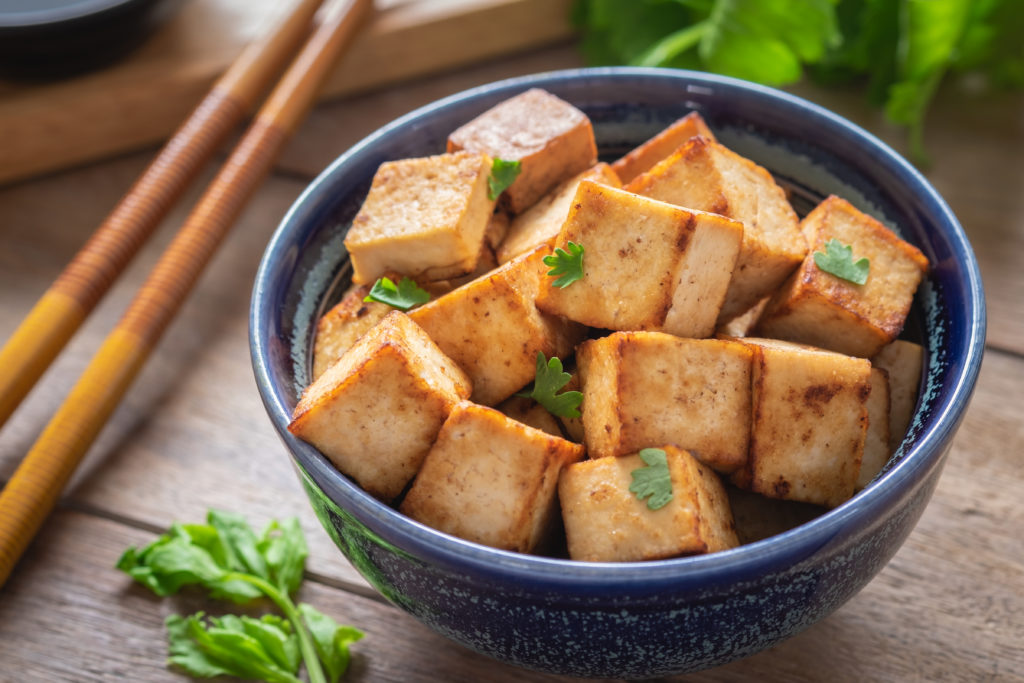 Fried tofu in a bowl