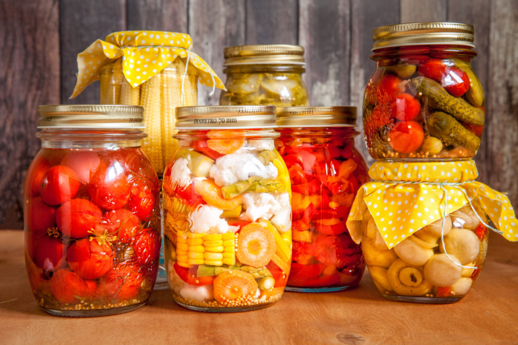Jars with marinated