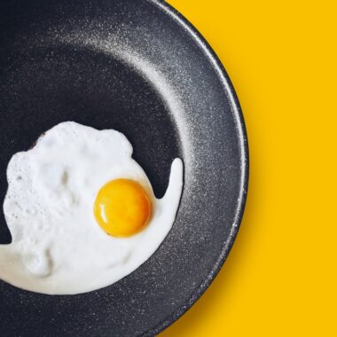 Frying egg in a non stick frying pan