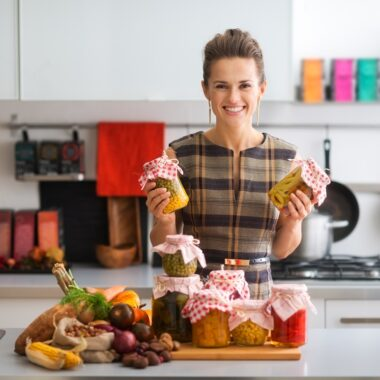 Happy woman in kitchen