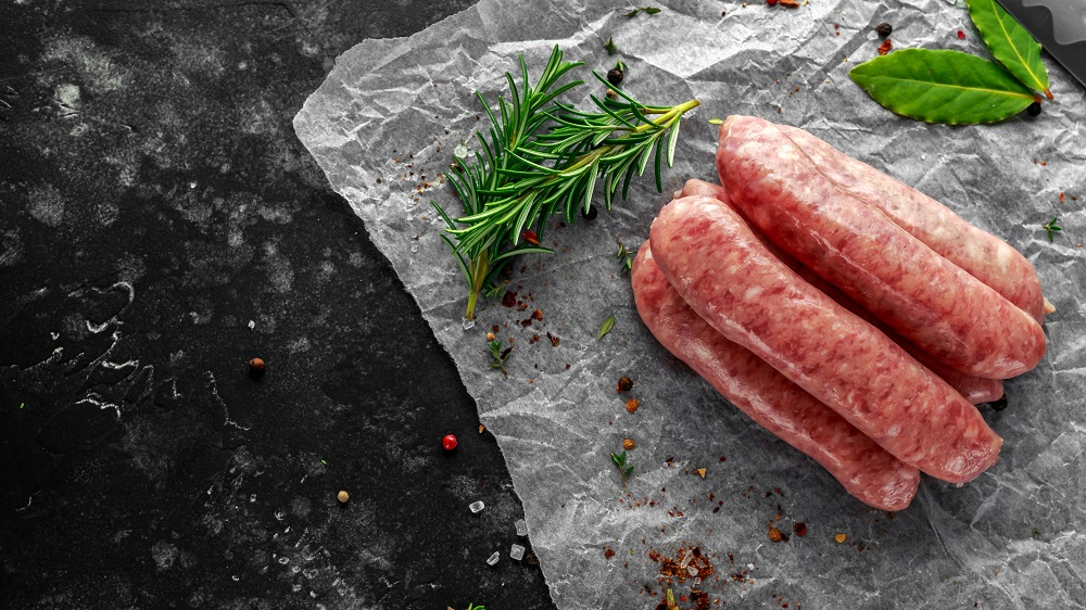 Freshly made raw breed butchers sausages